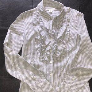 Banana Republic Ruffled Collar Button Down Shirt